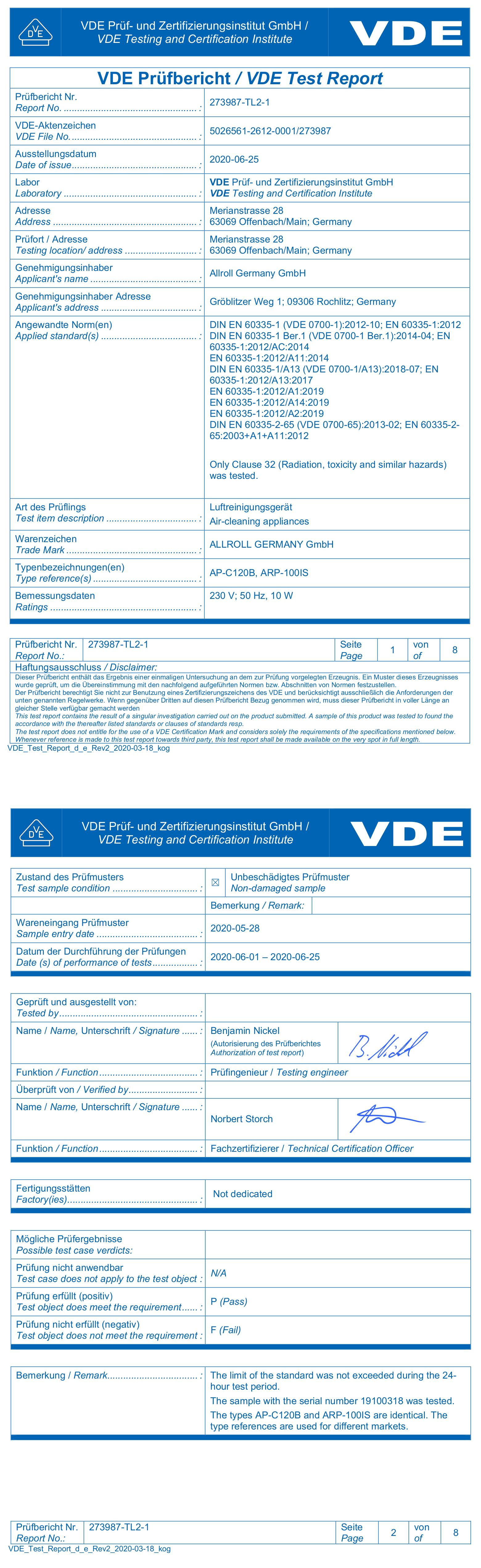 Протокол испытания VDE